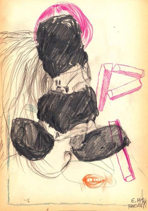Roberto Blancos Zeichnung, 29,7 x 21 cm, Mischtechnik, 2014