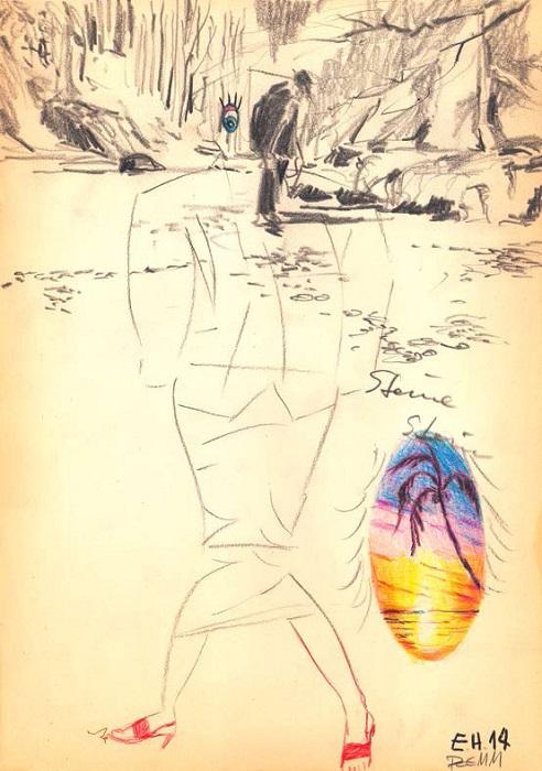 Stones Zeichnung, 29,7 x 21 cm, Mischtechnik, 2014