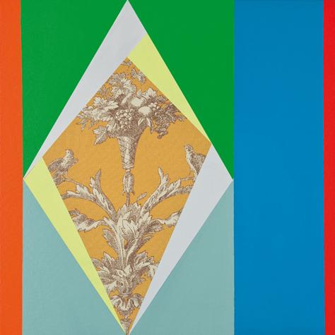 o.T. (between two orange 2) 45 x 45 cm, Acrylfarbe auf Stoff, 2013