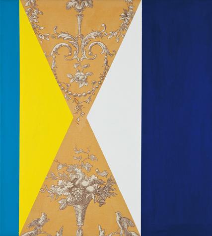 o.T. (between two blue) 50 x 45 cm, Acrylfarbe auf Stoff, 2013