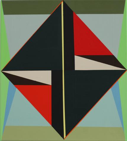 o.T. (dark rhomb with red) 50 x 45 cm, Acrylfarbe auf LW, 2014