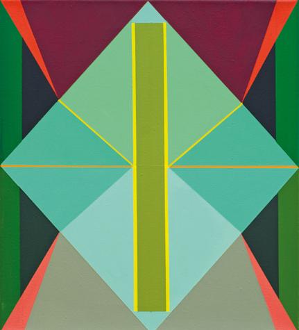 o.T. (green rhomb) 45 x 40 cm, Acrylfarbe auf LW, 2013