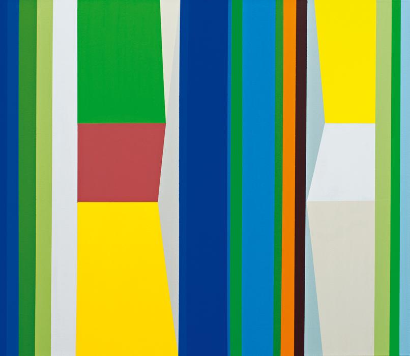 o.T. (between blue stripes) 70 x 80 cm, Acrylfarbe auf LW, 2013