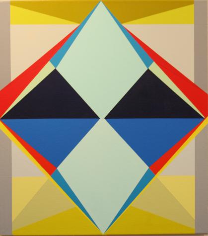 o.T. (blue rhomb) 45 x 40 cm, Acrylfarbe auf LW, 2014