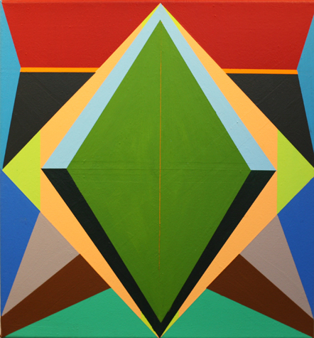 o.T. (green rhomb no 2) 42 x 40 cm, Acrylfarbe auf LW, 2014
