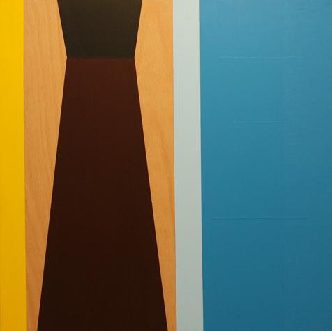 o.T. (one yellow, two blue stripes) 40 x 40 cm, Acrylfarbe auf Holz, 2012