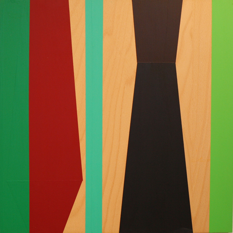 o.T. (between two green) 40 x 40 cm, Acrylfarbe auf Holz, 2012